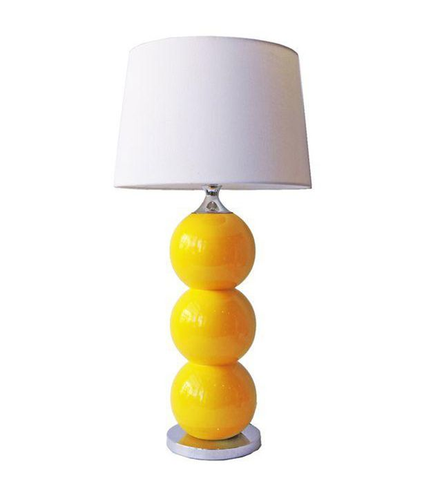 Vintage Yellow Ceramic and Chrome Lamp