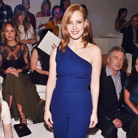 Jessica Chastain Wearing Deep Blue