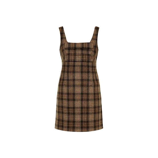 Topshop Inverness Checked Wool Pinafore Dress by Unique