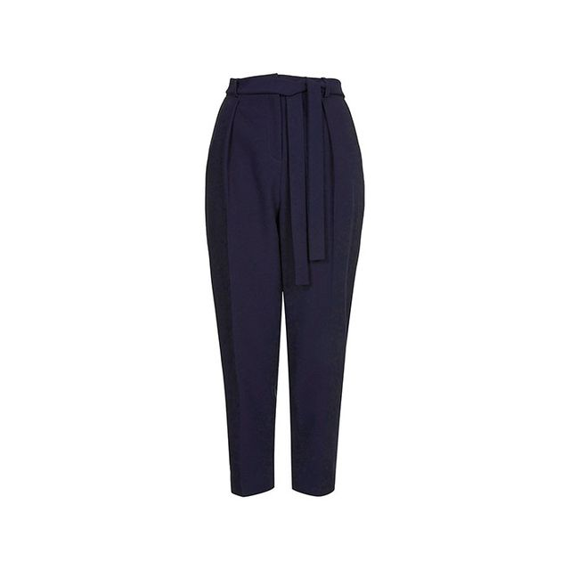Topshop Belted Crepe Peg Trousers