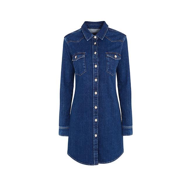 Topshop Moto Button-Up Denim Dress