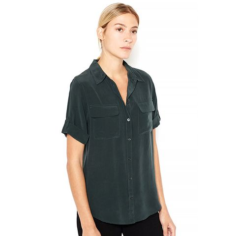 Short Sleeve Slim Signature Blouse in Scarab