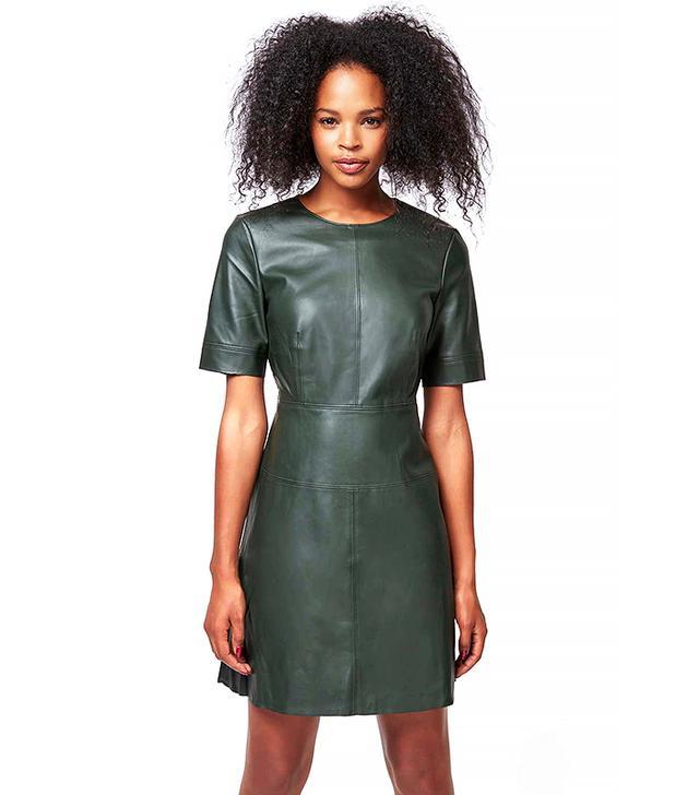 Topshop Faux Leather Shift Dress