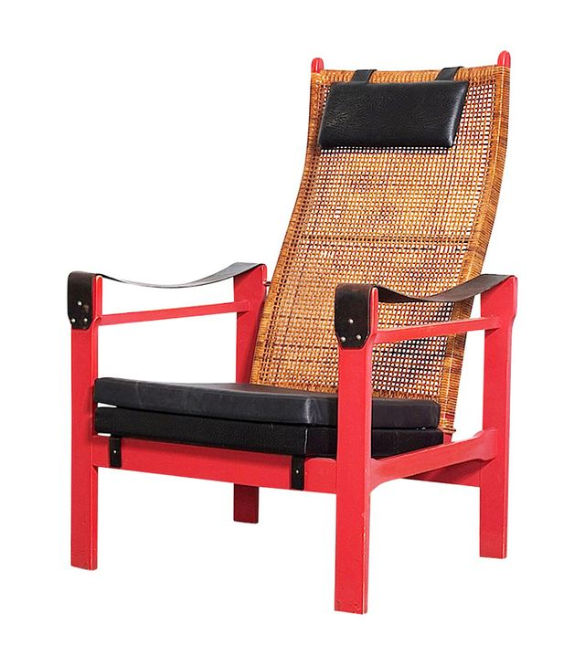 P.J. Muntendam Woven Rattan Lounge Chair with Leather Armrests