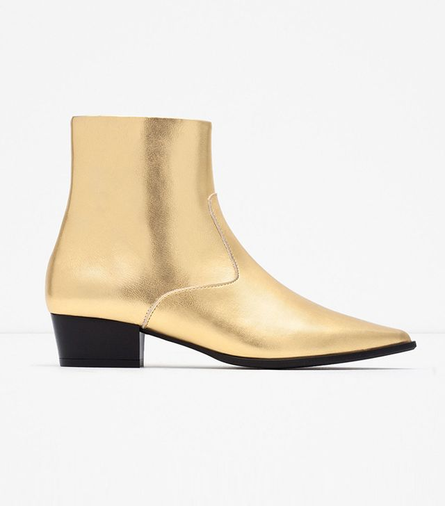 Zara Gold Tone Flat Ankle Boots