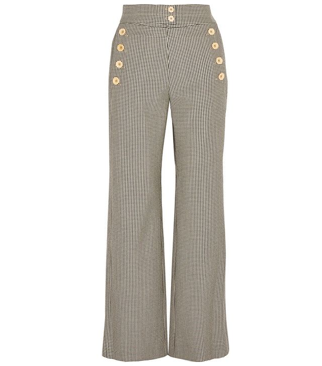 Chloé Houndstoth Wool-Blend Flared Pants