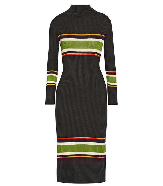 Suno Striped Wool-Blend Turtleneck Midi Dress