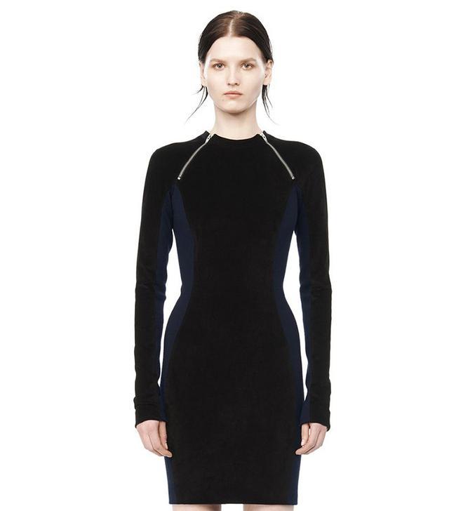 Alexander Wang Long-Sleeve Velvet Panel Dress