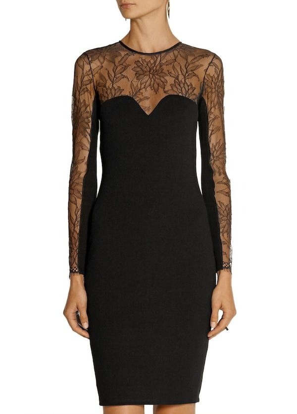 Mason by Michelle Mason Stretch-Ponte and Lace Dress