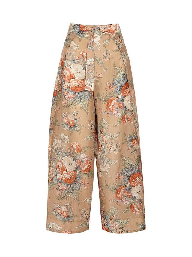 Zimmermann Anais Printed Cotton and Silk-Blend Wide-Leg Pants