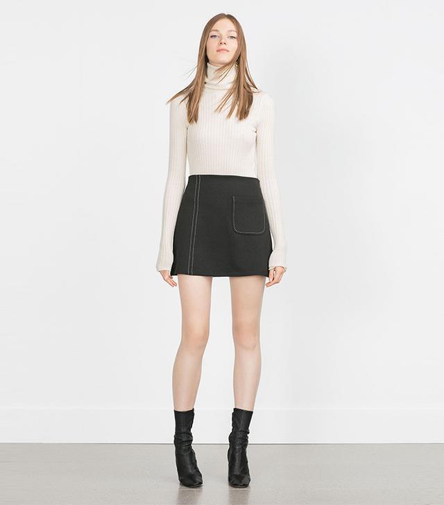 Zara Top-Stitched Mini Skirt