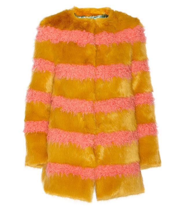 Shrimps Bobbin Striped Faux-Fur Coat
