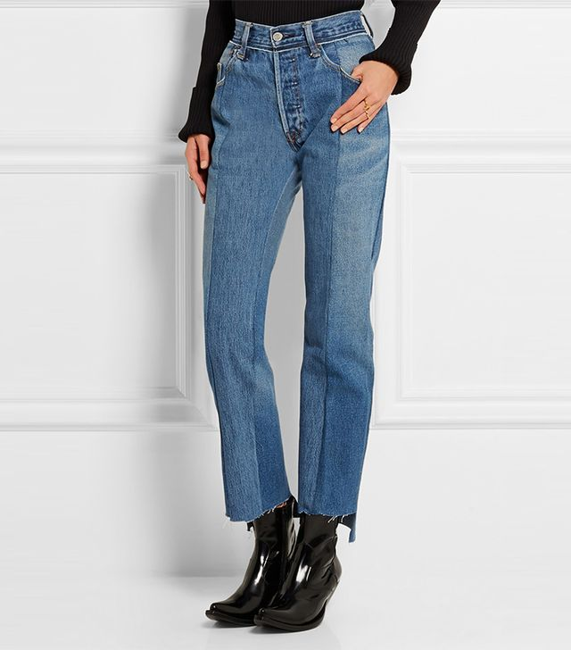Vetements Patchwork High-Rise Straight-Leg Jeans