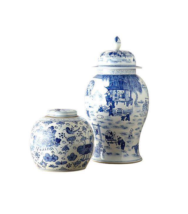 Horchow Vintage Blue & White Porcelain Jars