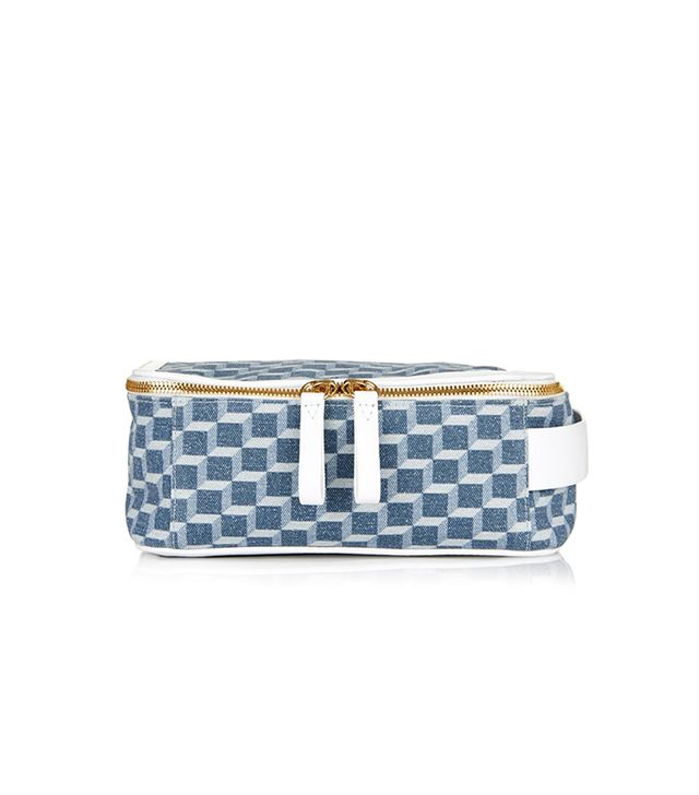 Pierre Hardy Cube-print denim cosmetics case