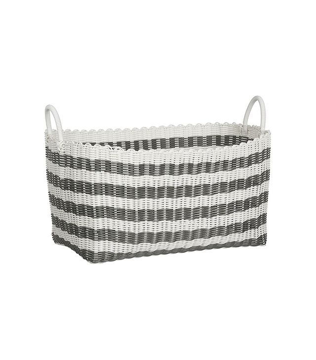 Crate and Barrel Grey-White Stripe Laundry Hamper