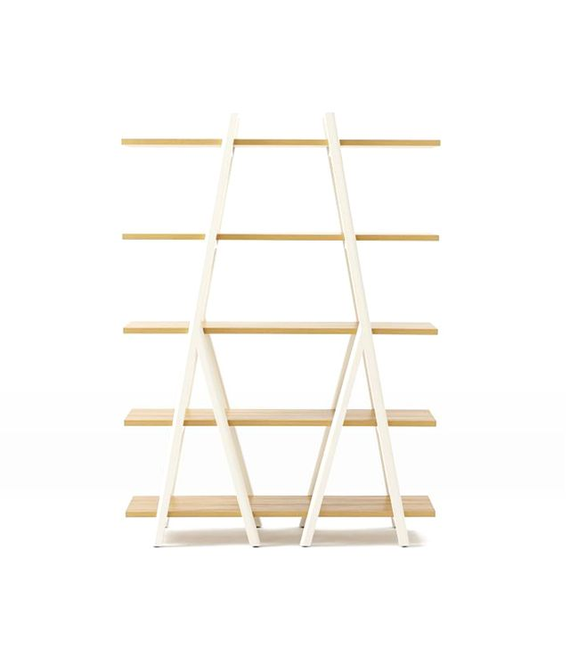 West Elm Ladder and Bookshelf Tall, White/Wheat