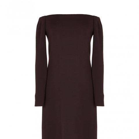 Viscose Crepe-Off-the-Shoulder Long Dress