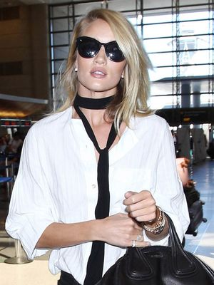 Rosie Huntington-Whiteley Just Wore the Coolest Airport Jacket Ever