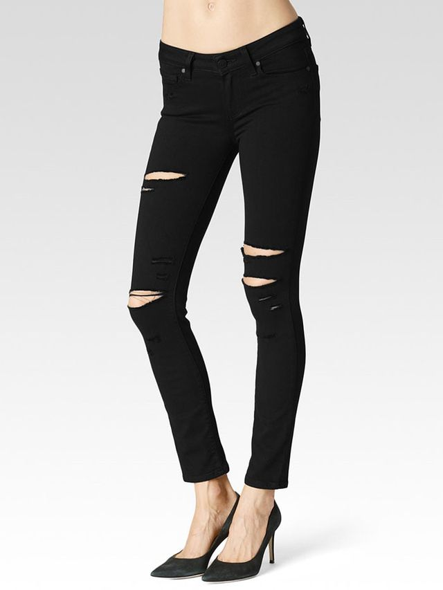 Paige Verdugo Ankle Skinny Jean Black Arlo Destructed