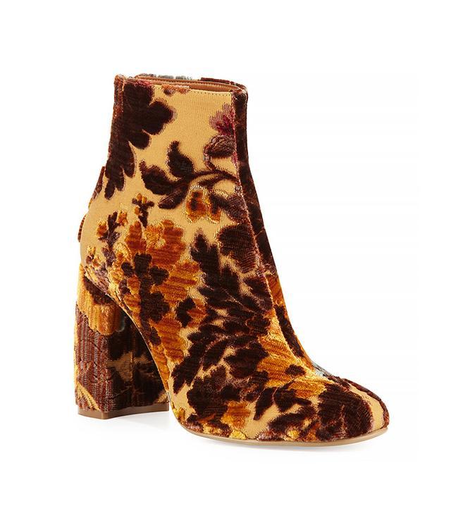 Stella McCartney Floral-Print Velvet Ankle Booties