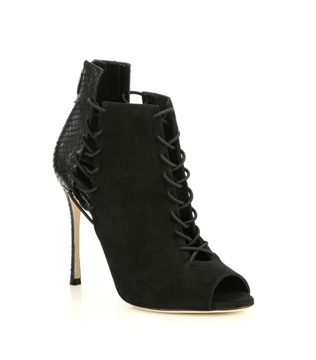 Sergio Rossi Suede and Python Lace-Up Detail Booties