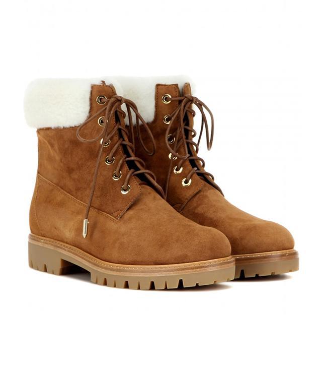 Aquazzura Heilbrunner Fur-Trimmed Boots