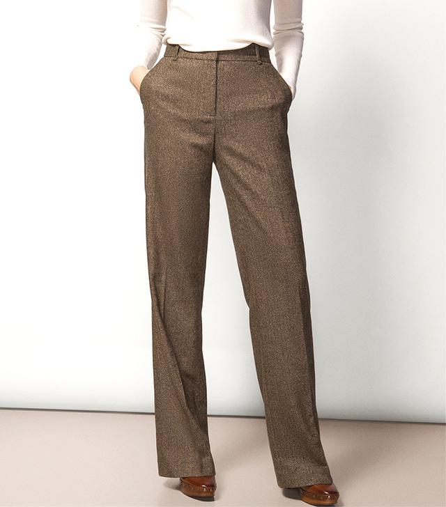 Massimo Dutti Wide-Leg Herringbone Trousers