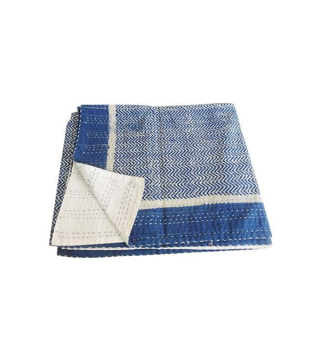 Tribal Asian Textiles Hand-Block-Print Kantha Bedspread