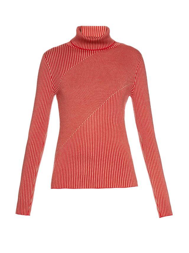Carven Striped Merino Wool Roll-Neck Sweater