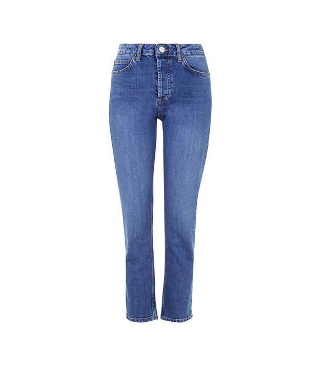 Topshop Moto Dark Blue Straight Leg Girlfriend Jeans