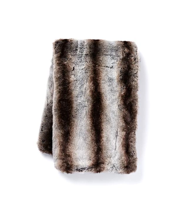 West Elm Faux Fur Ombre Stripe Throw