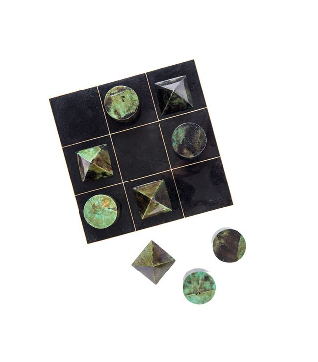 Blue Carreon Home Brass and Shell Tic Tac Toe Set