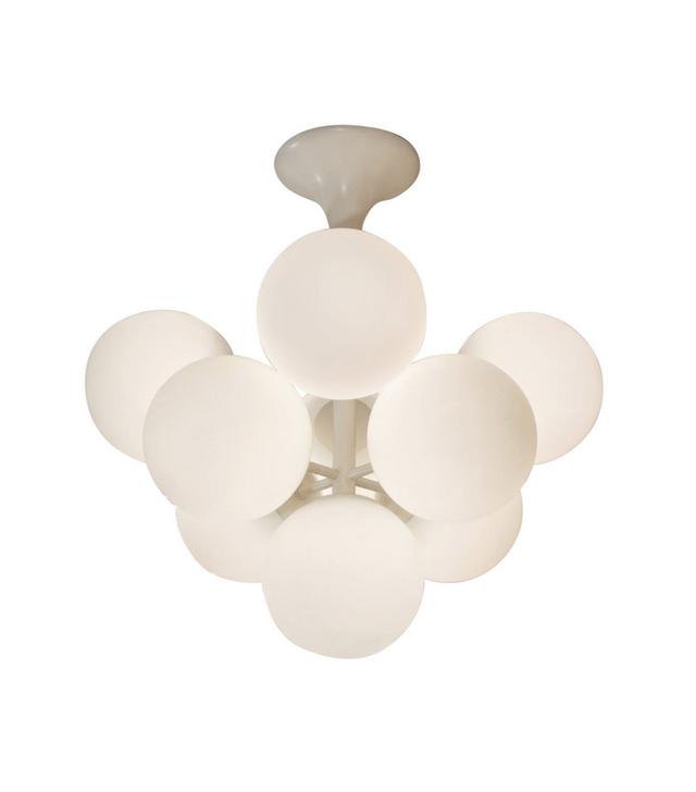 Temde Leuchten Atomic Chandelier in White Enamel With Opal Globes