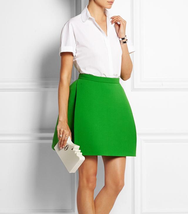 Delpozo Wool-Blend Crepe Mini-Skirt