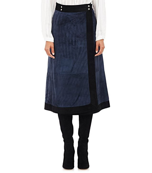 Sea Suede Wrap Midi-Skirt