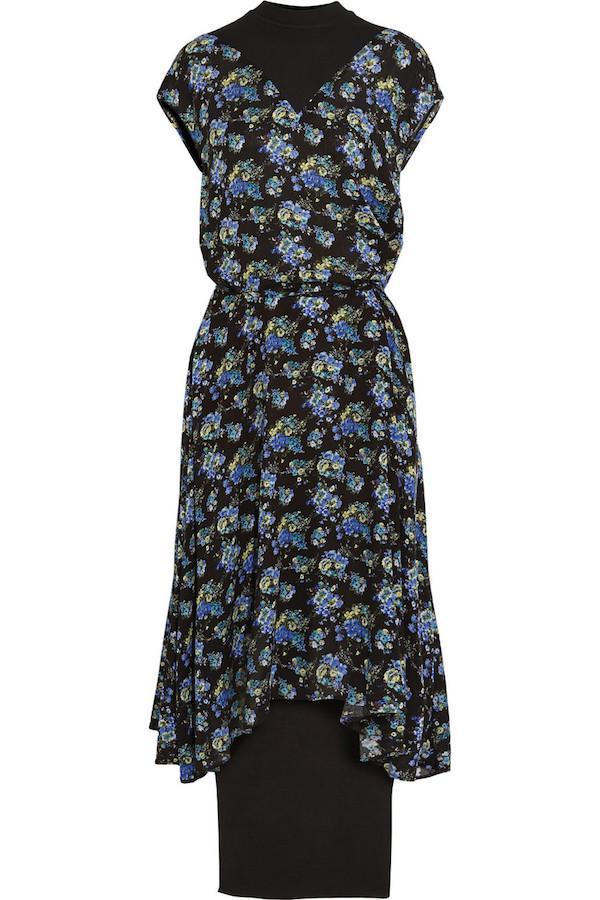 Vetements Cotton Jersey-Paneled Floral Midi Dress