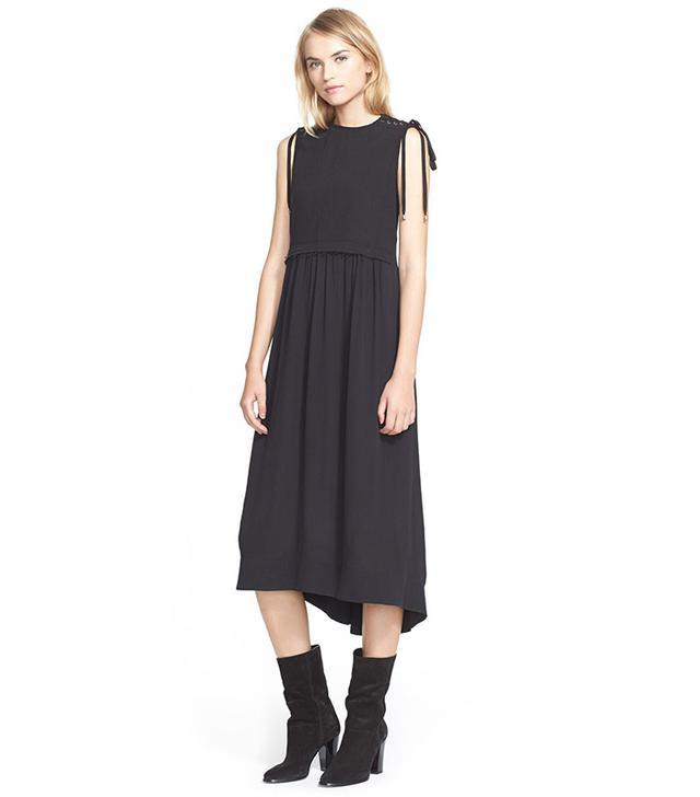 Sea Sleeveless Denim & Silk Midi Dress