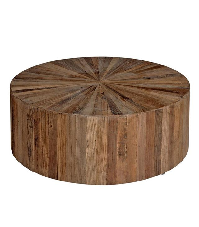 Kathy Kuo Cyrano Reclaimed Wood Round Drum Modern Eco Coffee Table