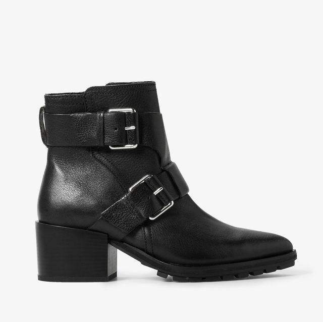Mango Buckle Leather Ankle Boots