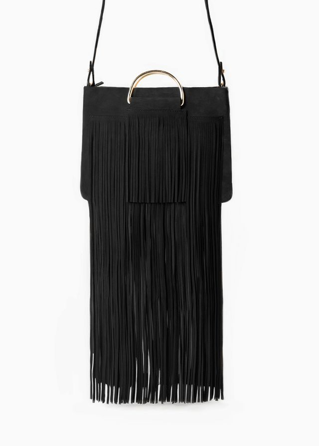 Mango Fringed Suede Bag