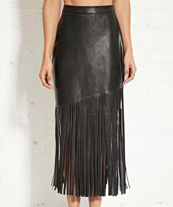 Forever 21 Nightwalker Faux Leather Fringe Skirt