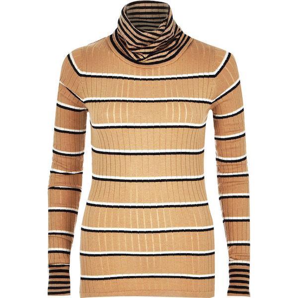 River Island Beige Stripe Lightweight Roll Neck Knit