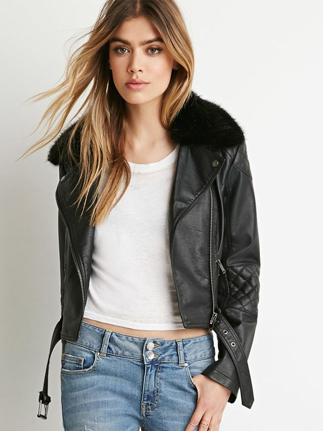 Forever 21 Faux Fur Moto Jacket