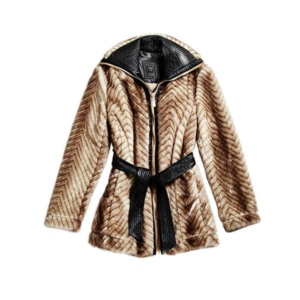 GUESS Long-Sleeve Faux-Fur Mix Coat