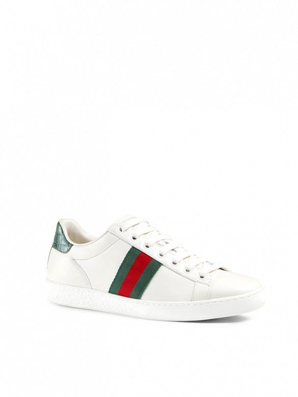 Gucci New Ace Web Detail Leather Sneakers