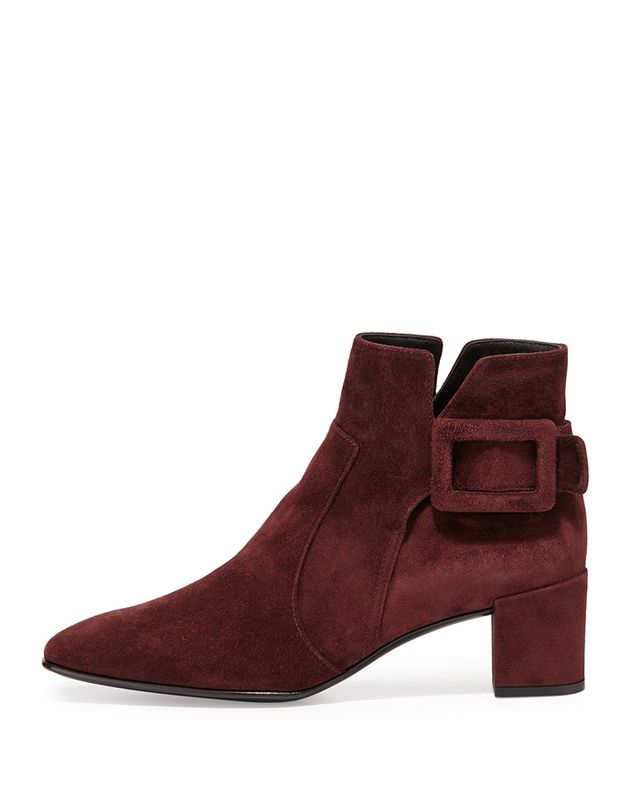 Roger Vivier Polly Suede Side-Buckle Ankle Boots