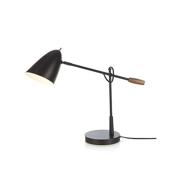 Crate and Barrel Morgan Black Metal Desk Lamp With USB Port
