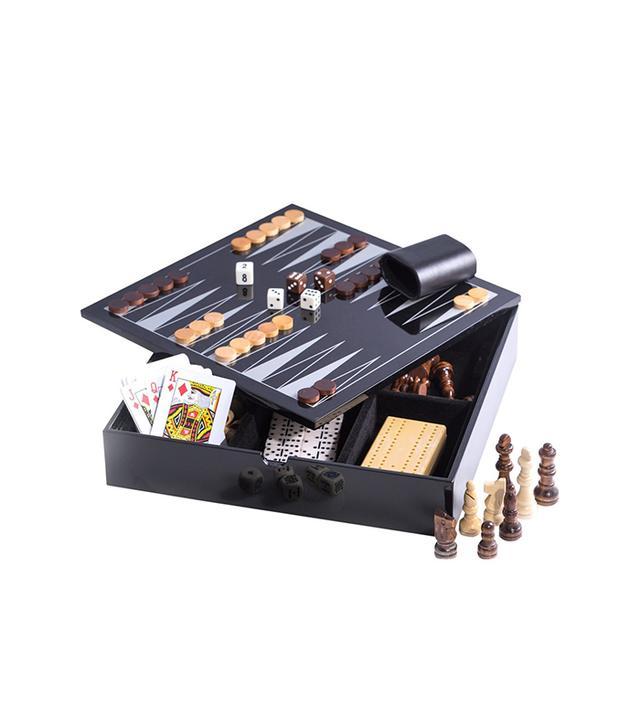 MyHabit Lacquered Wood Multi Game Set, Black