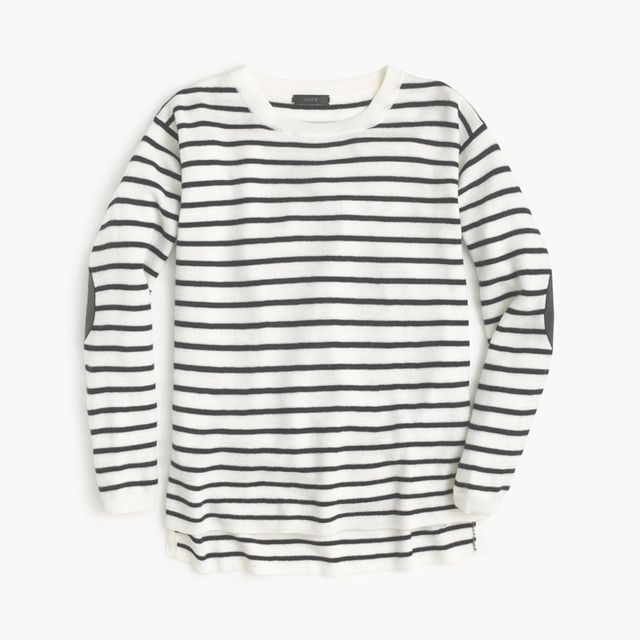 J.Crew Striped Leather Panel Swing Sweater